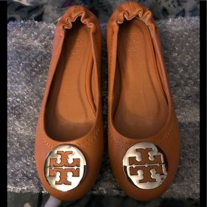 "New ""Tory Burch"" Cognac colored flats"